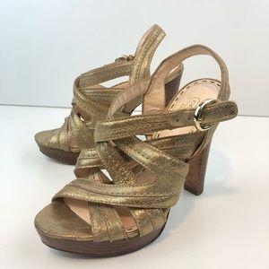 Coach metallic gold heels